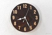 ブラックウォルナットのシンプルな掛け時計
